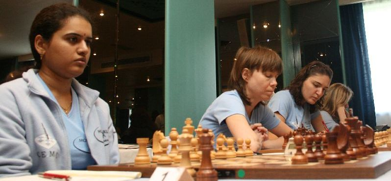 Cercle d'Echecs Monte Carlo: GM Humpy, GM Cramling, IM Dzagnidze, IM Skripchenko (from left to right).